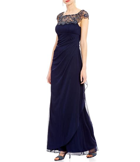 xscape beaded illusion gown xscape beaded illusion neck ruched gown dillards