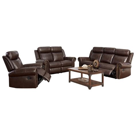 abbyson living berkshire 3 piece leather reclining furniture set burgundy abbyson living ellie 3 piece top grain leather reclining