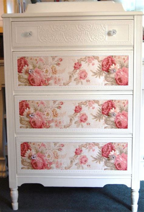 cottage style wallpaper cottage chic dresser with roses by daniscustomdesigns she