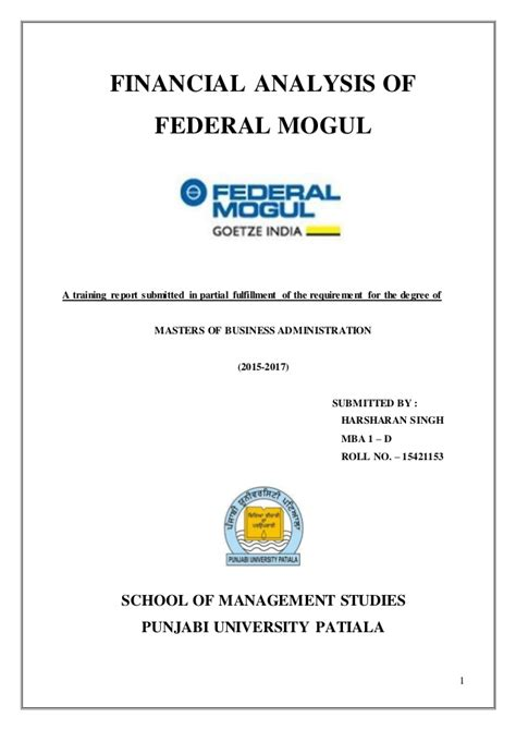 Financial Analysis Mba Management by A Project Report On Financial Analysis Refernce To Federal