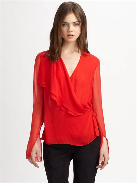 draped silk blouse robert rodriguez asymmetrically draped silk blouse in red