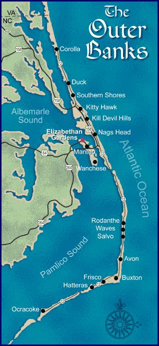 carolina map outer banks map of the outer banks nc