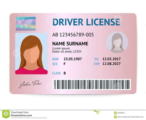 Drivers License Id Card Template by Flat Driver License Plastic Card Template Id Card