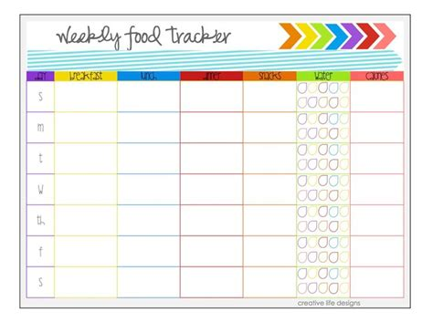 health and fitness log printable with free motivation weekly food tracker by nikicld on etsy health and