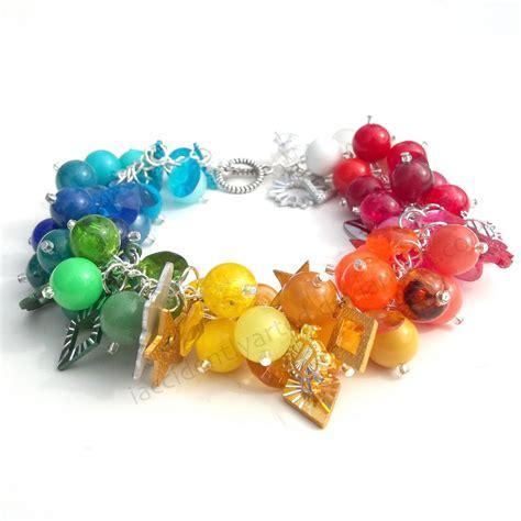 truly unique vintage rainbow charm bracelet by