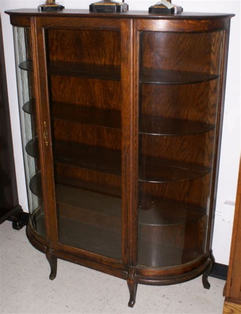 solid oak antique bow glass china cabinet
