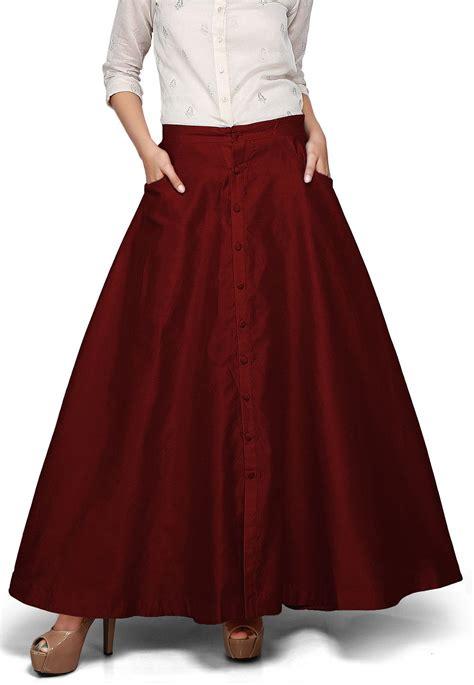 plain dupion silk long skirt  maroon thu