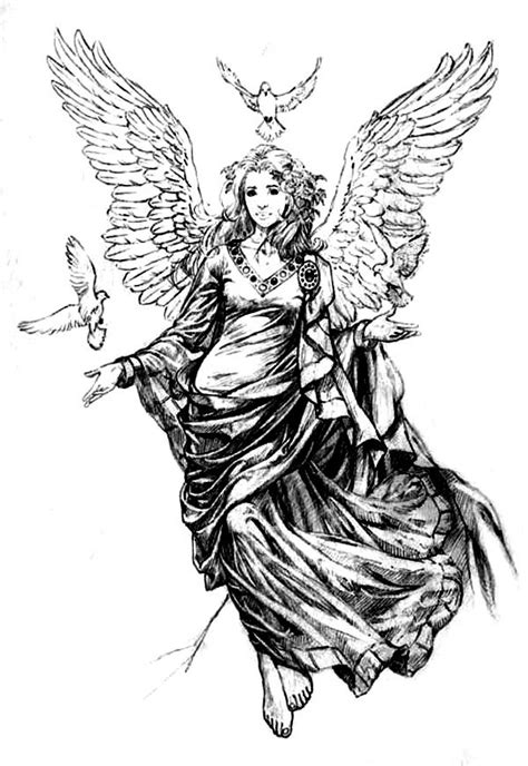 female angel tattoos beautiful flash drawing