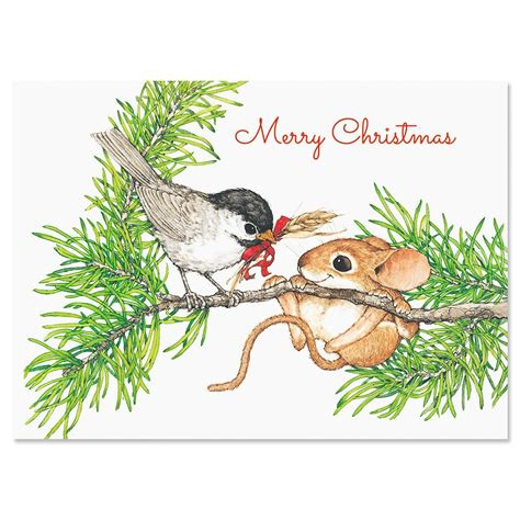 bird and mouse in tree christmas cards current catalog