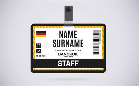 staff id badge template staff id card plastic badge vector design illustration