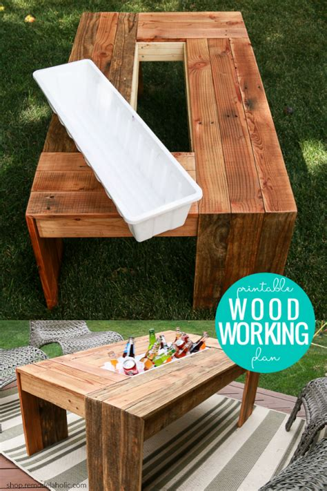 diy outdoor coffee table  drink cooler woodworking