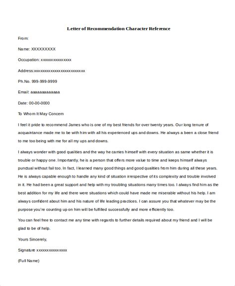 Character Reference Letter Of Recommendation Sle Character Reference Letter 8 Free Documents In Pdf Doc
