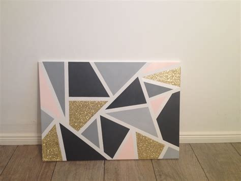 grey and gold triangle painted canvas gold light grey dark grey whit