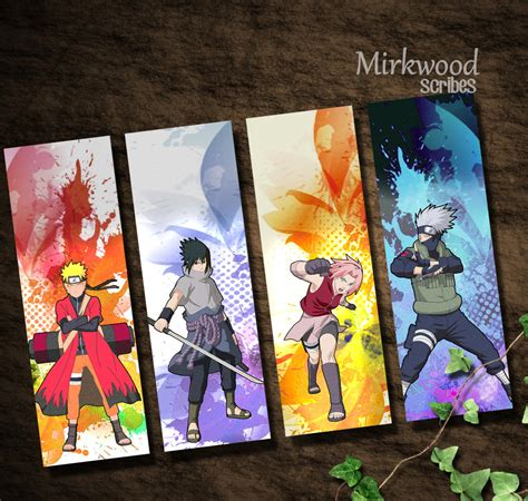 naruto printable bookmarks naruto bookmarks team 7 naruto sasuke by mirkwoodscribes
