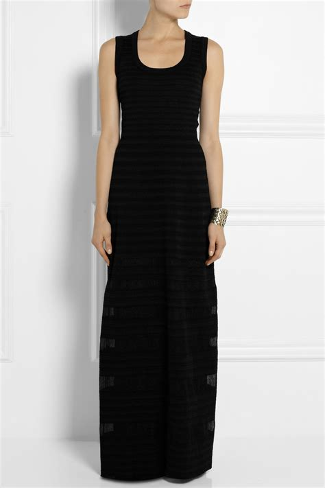 black cotton knit dress m missoni cotton blend stretch knit maxi dress in black lyst