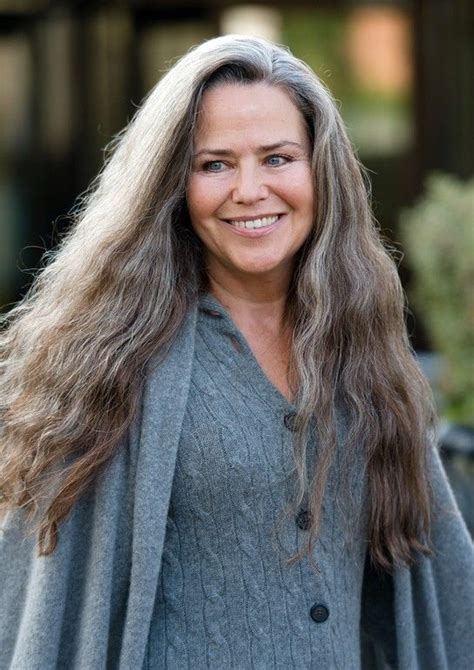 transition to grey hair styles for long hair koo stark long gorgeous graying hair cozy outdoor style