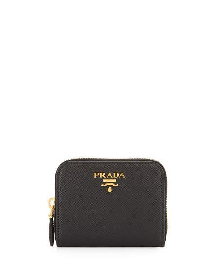 P Da Saffiano Mini Free Dompet prada saffiano mini zip around wallet black nero
