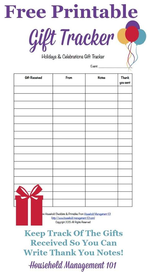 gift card tracking template printable holidays celebrations gift tracker remember