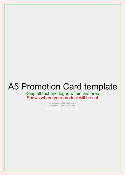 a5 card template word a5 promotion card from 163 21 99 same day dispatch
