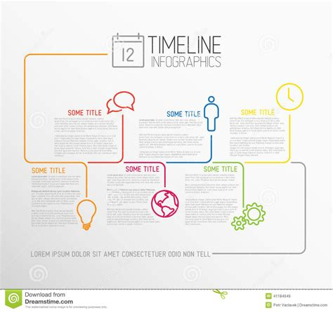 timeline report template infographic timeline report template with lines stock