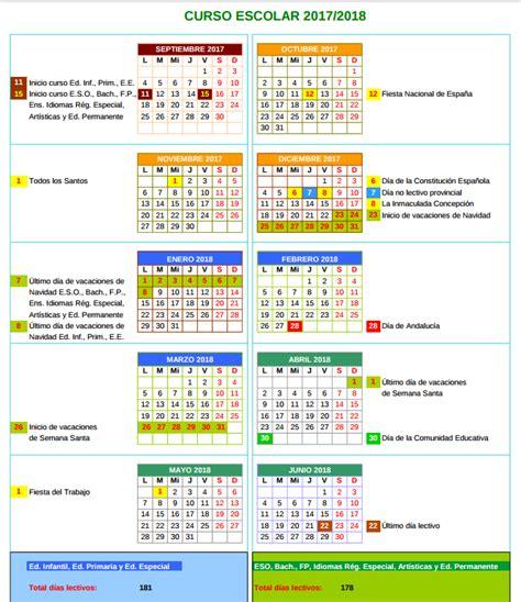 Calendario Escolar Andalucia 2017 18 A Quot Los Alcornocales Quot Calendario Escolar 2017 18