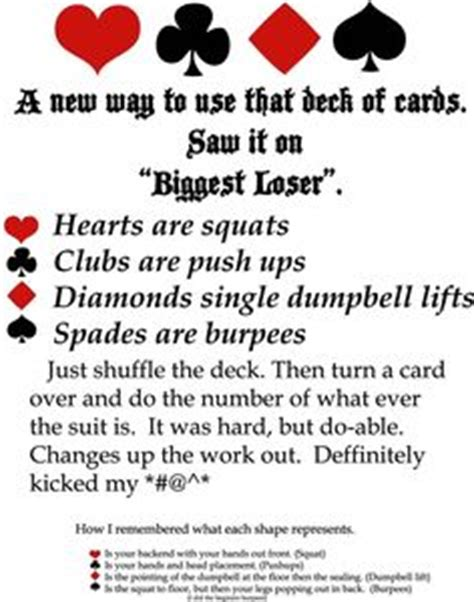 printable deck of cards workout denise austin and the biggest loser workout dvd s are only
