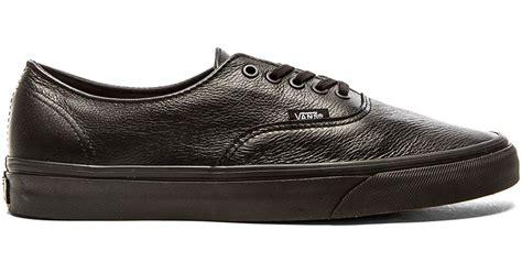 Vans Authentic Grey Premium vans authentic decon premium leather in black for lyst