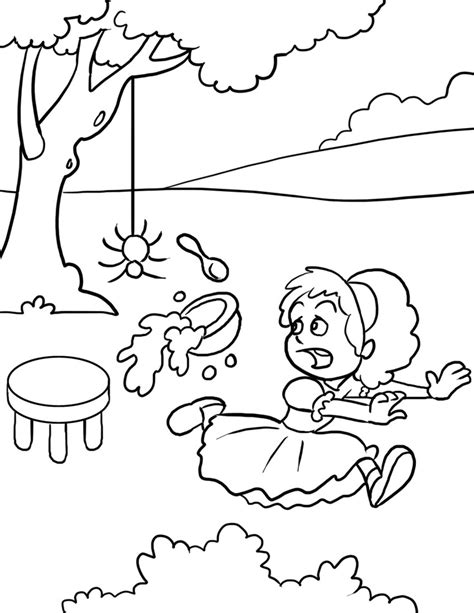 little miss muffet coloring page az coloring pages