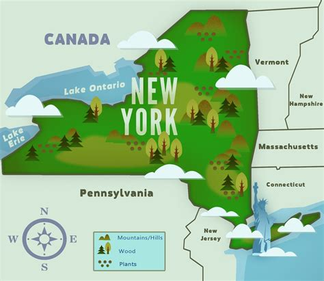 physical map of new york new york ny state information