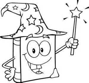 libros para colorear online dibujo de libro m 225 gico con varita m 225 gica para colorear