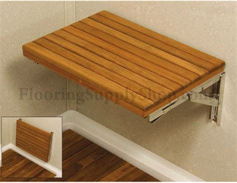 teak wall mount fold down bench 25 by flooringsupplyshop com