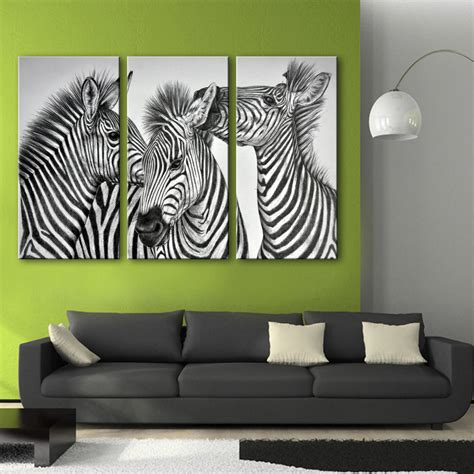 home decor free shipping free shipping e home oil painting three zebra decoration