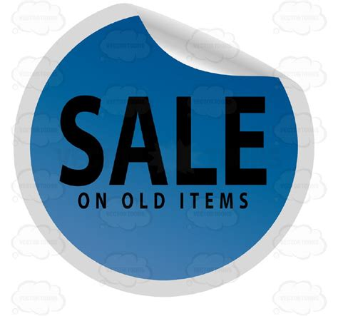 Sle Tags For Giveaways - sale on old items blue circle price tag with curled edge vector graphics
