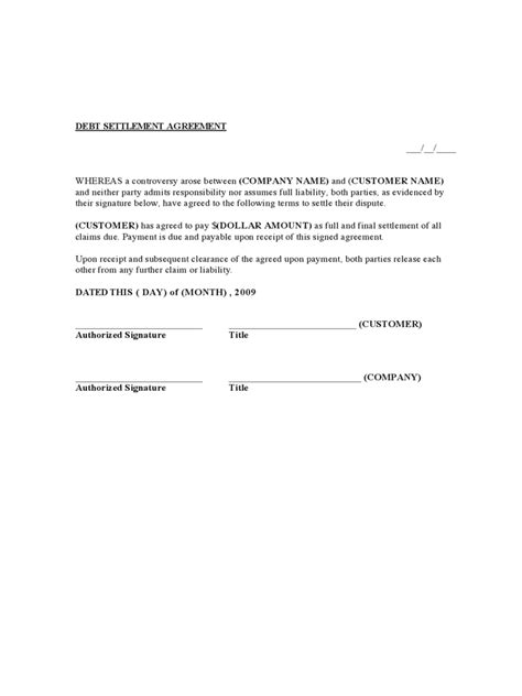 debt settlement agreement template debt settlement agreement form 3 free templates in pdf