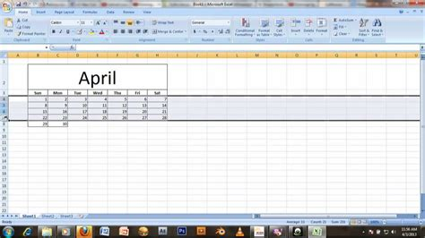 tutorial to excel 2007 tutorial how to make a calendar in ms excel 2007 youtube