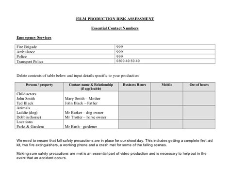 manufacturing risk assessment template l6g production risk assessment form exle and