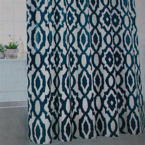 blue ikat shower curtain threshold blue ikat fabric shower curtain target