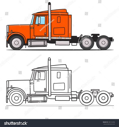 doodle trailer semi truck sleeper towing engine stock vector