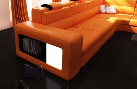 Polaris Sofa by Polaris Italian Leather Sectional Sofa In Orange