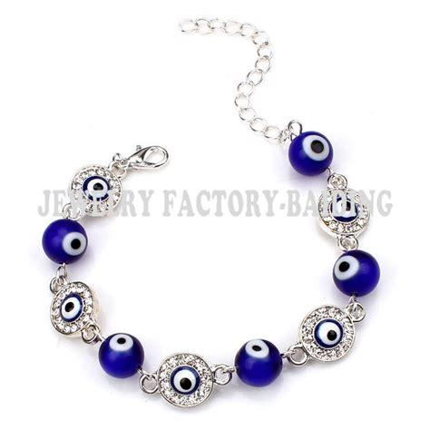 evil eye glass bead bracelet fashion blue glass evil eye bead with alloy evil eye charm