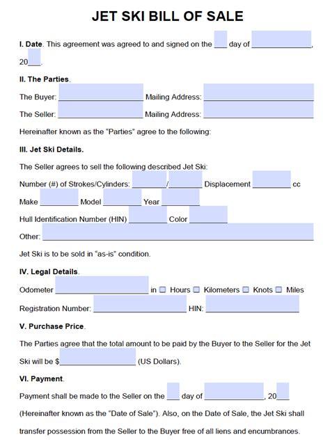 boat bill of sale ma free jet ski bill of sale form pdf word doc
