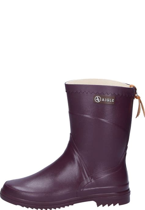 s rubber boots aigle bison aubergine rubber boots a half height