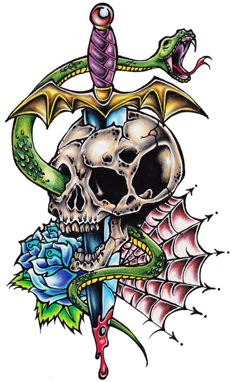 skull and dagger tattoo by offdwallnotdrack on deviantart