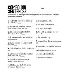compound sentence fun activity i m only going to have the