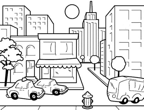 drawing city scenes coloring page for kids coloring sun
