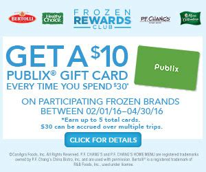 Publix Gift Card Giveaway - earn up to five publix gift cards with the frozen rewards club through