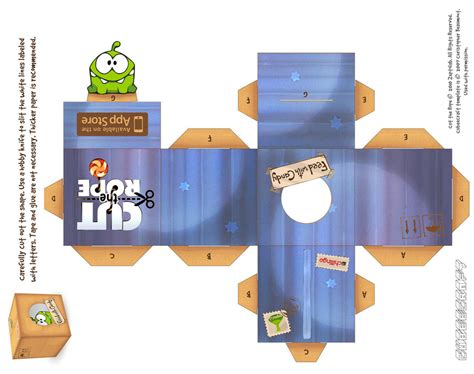 Cut The Rope Papercraft - om nom magic box by viperfan14 on deviantart