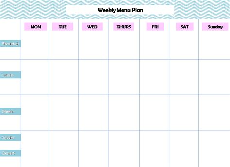 free weekly menu template 7 day printable planner calendar template 2016