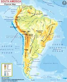 south america map with mountains physical map of south america rivers