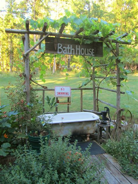 outdoor bathtub cedar house soaps lazy summer afternoon